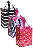 Planet E Reusable Grocery Shopping Bags - Colorful Collapsible Insulated zippered Coolers (Pack of 3)