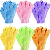 Exfoliating Gloves, Anezus 12 Pairs Exfoliating Shower Bath Scrub Gloves Exfoliator Glove for Body, Shower, Bath, Scrub and Spa Massage Dead Skin Cell Remover (6 Colors)