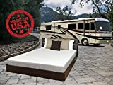 TRAVEL HAPPY WITH A 8 INCH SHORT QUEEN (60' x 75' Inches) Cool Sleep Gel Memory Foam Mattress with Premium Textured 8-Way Stretch Cover for Campers, Rv's and Trailers MADE IN THE USA