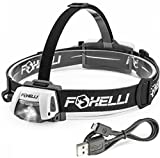 Foxelli USB Rechargeable Headlamp Flashlight - 280 Lumen, up to 100 Hours of Constant Light on a Single Charge, Ultra Bright, Waterproof, Impact Resistant, Lightweight & Comfortable Headlight