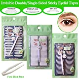 3 Pack Invisible Double-Side Sticky Eyelid Tapes Stickers, Medical-use Fiber Eyelid Strips, Instant lift Eye Lid Without Surgery, Perfect for Hooded, Droopy, Uneven, Mono-eyelids