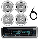 New Kenwood Marine Boat ATV Car In Dash Bluetooth CD MP3 USB AUX iPod iPhone AM/FM Radio Stereo Player With 4 X Lanzar AQ5DCS 300 Watts 5.25-Inch Dual Cone Marine Speakers And Enrock Marine 45' Antenna - Complete Marine Audio Package