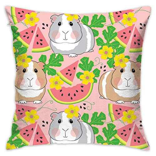 fastly Guinea-Pigs-in-a-Watermelon-Patch On Pink_1141 Soft Microfiber Premium Quality Covers with Zipper,Pillowcase Covers 18x18,