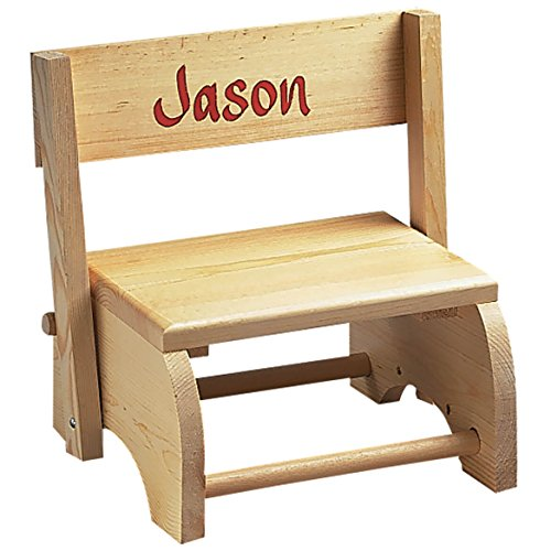"Wooden Personalized Childrens Chair/Step Stool Combo - Childrens Furniture Ideal for Toy Room, Bedroom, or Bathroom - ""Knotty Pine"" Wood"