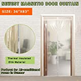 Transparent Magnetic Thermal Insulated Door Curtain Keep Draft and Kitchen Cooking Odor, Magnets Screen Door Fits Doors Up to 34'x82' for Air Conditioning Room Keeping Electric Bills
