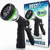 Best Garden Hose Nozzle (HIGH PRESSURE TECHNOLOGY) - 8 Way Spray Pattern - Jet, Mist, Shower, Flat, Full, Center, Cone, and Angel Water Sprayer Settings - Rear Trigger Design - Steel Chrome Design