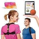 Prego Premium Posture Corrector Brace - Back Pain & Discomfort Relief - Adjustable & Comfortable Posture Improvement Clavicle Brace - Unisex Design For Men & Women - Stress Ball & eBook Included