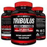 Tribulus Terrestris Extract Powder | Testosterone Booster with Estrogen Blocker | 45% Steroidal Saponins 1500mg | Arazo Nutrition USA - 180 Capsules