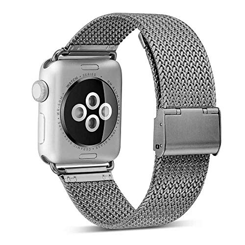 ADWLOF Compatible for Apple Watch Band 38mm 40mm,Stainless Steel Mesh Sport Wristband Loop with Strong Magnetic Closure Strap for iWatch Series 1,2,3,4,Space Gray