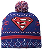 Superman Men's Fair Isle Cuff Pom Beanie, Navy, One Size