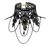 Eternity J. Elegant Vintage Princess Black Lace Gothic Statement Necklace Bracelet Victorian Lolita Choker Pendant Vampire Chain