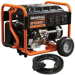 Generac 6515 GP6500E 6500 Running Watts/8000 Starting Watts Electric Start Gas Powered Portable Generator with Cord