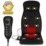 Comfitech Heated Car Seat Back Massager Cushion Chair Pad with 10 Vibrating Motors for Office, Auto and Home (Black)