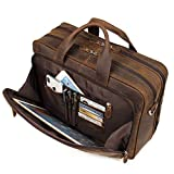 Augus Business Travel Briefcase Genuine Leather Duffel Bags for Men Laptop Bag fits 15.6 inches Laptop (Dark brown)