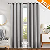 Blackout Curtains for Living Room Thermal Insulated Light Blocking Triple Weave Drapers Grommet Top 1 Pair 95'L Grey