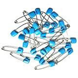 GTONEE 30pcs safety pins, cute brooch pin colorful, Stainless steel, Size L, 2.1 inch Blue
