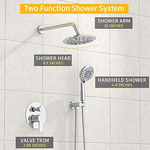 SunCleanse Shower System-Rainfall Shower Faucet Set with 6-Settings Handheld Shower and High Pressure Shower Head, Contain Rough in Valve and Trim Kit, Polished Chrome 15