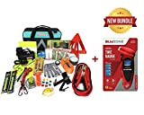 BLIKZONE Auto Roadside Assistance Car Kit Aqua Bundled 82 Pc Accessories Vehicle Emergency: Portable Air Compressor, Jumper Cables, Digital Tire Pressure Gauge and Essential Tools for Roadtrips