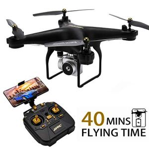 40MINS(20mins + 20mins) Long Flight Time Drone JJRC JJPRO H68 RC Quadcopter with Removeable 720P Camera FPV WiFi Helicopter with 2 Batteries Altitude Hold Headless Mode APP Control Best Drone (Black) 519UobmBNuL