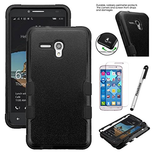 "Phonelicious for JITTERBUG SMART (5.5"" SCREEN) Case [Heavy Duty] [Shock Absorption] [Drop Protection] [Hybrid Armor] Rugged Impact Phone Cover + Screen Protector Stylus (BLACK)"