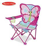 Melissa & Doug Cutie Pie Butterfly Camp Chair (Easy to Open, Handy Cup Holder, Cleanable Materials, Carrying Bag, 23.7' H x 6.7' W x 6.7' L)