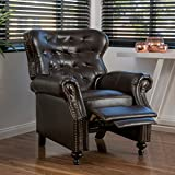 Christopher Knight Home 296610 Deal Furniture Waldo Brown Leather Recliner Club Chair