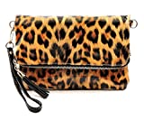 Elphis Leopard Glossy Vegan Bifold Clutch Crossbody Bag Shinny PU Purse (Leopard/Black)