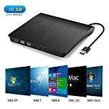 ZOWFUN External CD Drive USB 3.0 External DVD CD Drive Slim CD DVD +/-RW Drive Portable DVD CD ROM Rewriter Burner Writer High Speed Data Transfer for Laptop/Desktops Win 7/8.1/10/Linux OS/Vista