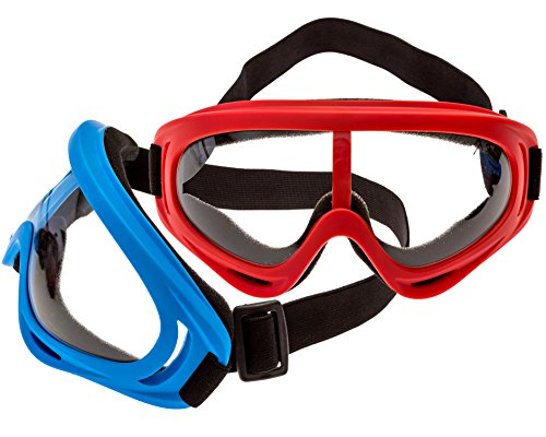 Impresa Products 2-Pack Foam Gun and Blaster Face Mask / Goggles / Eye Shield (1 Red Mask - 1 Blue Mask) - Perfect for Foam Blaster Guns from The Name Brand