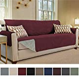 Gorilla Grip Original Slip Resistant Oversize Sofa Slipcover Protector, Seat Width Up to 78' Suede-Like, Patent Pending, 2' Straps/Hook, Couch Cover for Kids, Dogs, Pets (Oversized Sofa: Merlot)