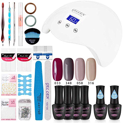 Gellen Gel Polish Kit with UV light - Elegance 4 Colors Stylish Nail Gel Starter Kit, Home Manicure Tool Nail Art Decorations