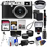 Fujifilm X100F Wi-Fi Digital Camera (Silver) with Leather Case + 64GB Card + Battery & Charger + Tripod + Flash + Telephoto & Wide Lens Kit