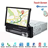 Hikity 1 Din Universal Car Stereo Radio DVD Player 7 inch HD Touch Screen GPS Navigation FM/AM Radio Bluetooth Autoradio AUX-IN MP3//remote control/MP5 Support USB/SD Card Rear View Camera Backup Came