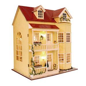 Toy Set DIY Wooden Dolls House Handcraft Miniature & Toys Kit Large Villa & Furniture/Music box for Kids Girls Birthday Gift Early education supplies 519jVWw70gL