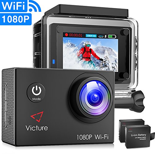 Victure Action Camera Underwater Cam WiFi 1080P Full HD 12MP Waterproof 30m 2″ LCD 170 degree Wide-angle Sports Camera with 2 Rechargeable 1050mAh Batteries and Mounting Accessory Kits