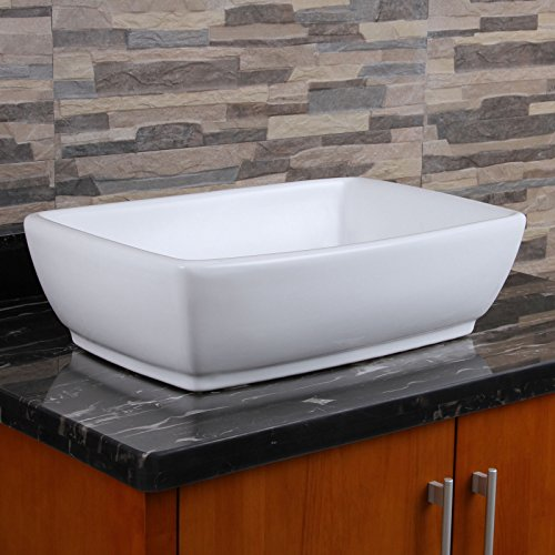 ELIMAXS Unique Rectangle Shape White Porcelain Ceramic Bathroom Vessel Sink