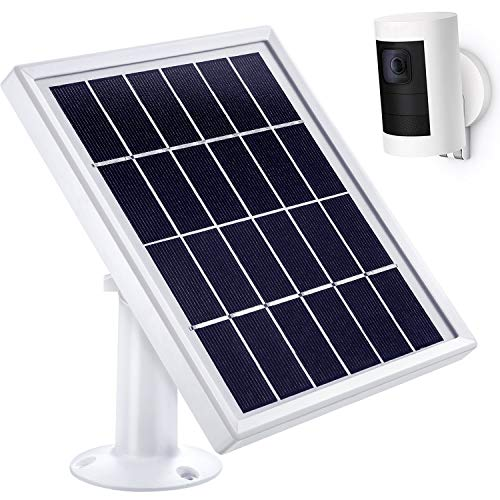 Hotop Solar Panel Compatible with All-New Ring Stick up Cam Battery (Only), Cable with Waterproof DC Connector (12Feet), 5 V/ 3.5 W Max Output (No Camera Included) (White)