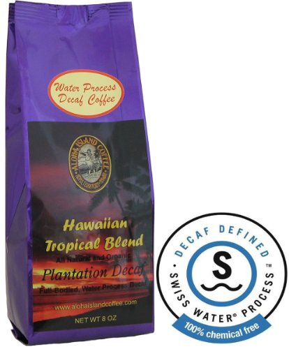 Water Process Decaf, Kona Hawaiian Coffee Blend, 8 Oz Whole Bean