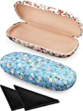 2 Pieces Spectacle Case Box Portable Hard Eyeglass Case Fabrics Floral Eyeglass Case Spectacles Box Case for Eyeglasses (White, Blue)