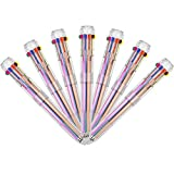 TSML Multicolor Pens 4 Pack 0.5mm 10-in-1 Retractable Ballpoint Pens - 10 Colors Transparent Barrel Ballpoint Pen for Office Supplies (10-in-1 4 pcs)