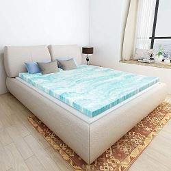 Milemont Mattress Topper Twin, 2-Inch Cool Swirl Gel Mattress Topper for Twin Size Bed, Blue