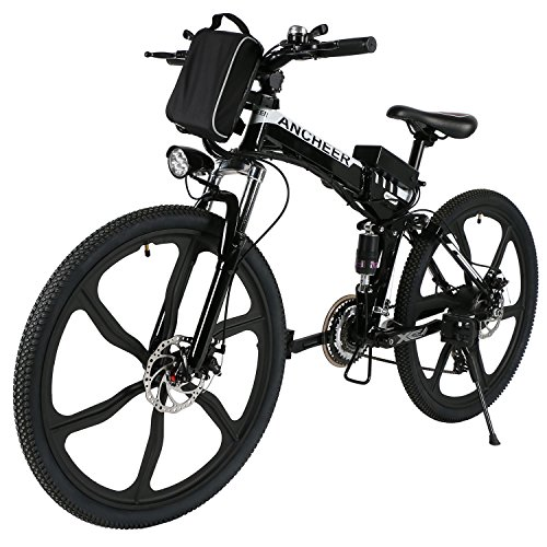 """ANCHEER Folding Electric Mountain Bike with 26"""" Super Lightweight Magnesium Alloy 6 Spokes Integrated Wheel, Large Capacity Lithium-Ion Battery (36V 250W), and Shimano Gear (Black Frame)"""