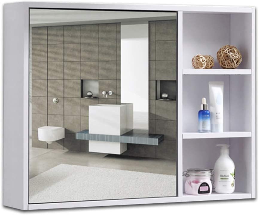 Amazon Com Bathroom Vanities Solid Wood Bathroom Mirror Cabinet Bathroom Mirror Wall Mounted Storage Lens With Shelf Wall Mounted Vanity Mirrors Color White Size 701460cm Home Kitchen
