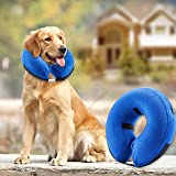 Bencmate Protective Inflatable Collar for Dogs and Cats - Soft Pet Recovery Collar Does Not Block Vision E-Collar (Large)