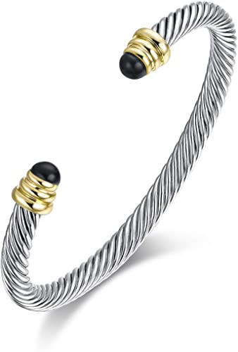 Ofashion Twisted Cable Bracelet Designers Inspired Cuff Bracelets with Gemstones