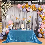 Eternal Beauty 60'' X 120'' Sequin Tablecloth Wedding Banquet Party Rectangle Table Cover - Turquoise