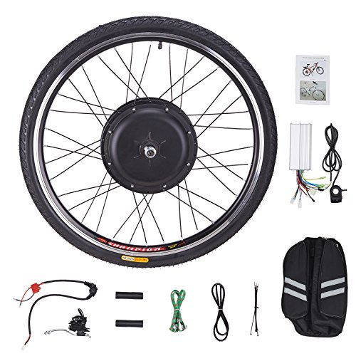 """Pinty FT1010 26"""" Front Wheel 48V 1000W Ebike Hub Motor Conversion Kit with Dual Mode Controller & Disc Brake for Electric Bicycle Bike, Up to 28-30 MPH"""
