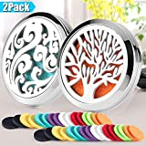2PCS Car Aromatherapy Essential Oils Diffuser Air Freshener 30mm Stainless Steel Black Locket Vent Clip+32pcs Refill Pads (Tree of life&Cloud)