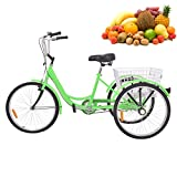H&ZT Single Speed Adult Tricycle Trike Cruiser Bike 3 Wheeled Bicycle w/Large Basket and Maintenance Tools, Men's Women's Cruiser Bicycles, 24 Inch Wheel Size Bike Trike (Apple Green, Single Speed)