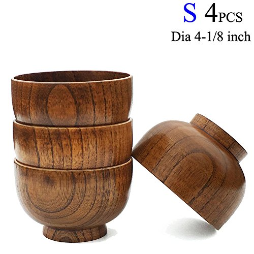 Cospring Set of 4 Solid Wood Bowl, 4-1/8 inch Dia by 2-5/8 inch, for Rice, Soup, Dip, Decoration (Small)